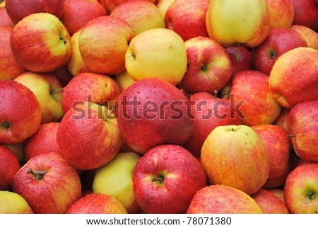 Yummy pile of apples in a market stall - stock photo