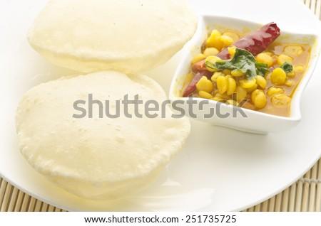 Yummy Puri with chana dal - stock photo