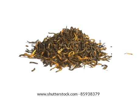 Yunnan Black tea loose dried tea leaves, isolated on the white backrgound - stock photo