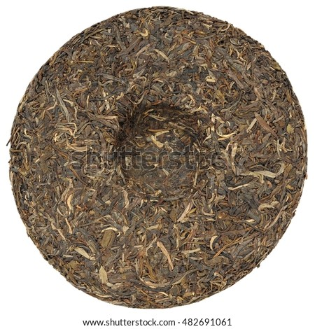 Yunnan raw sheng high mounting puerh tea with stone impress overhead view