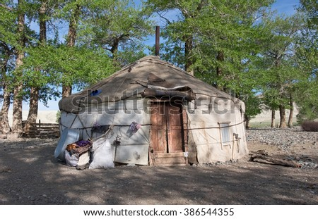 yurt traditional house of Turks and Mongols in the steppes of Central Asia