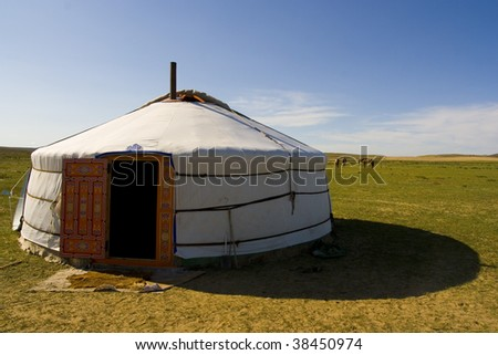 Yurta in gobi desert mongoli - stock photo