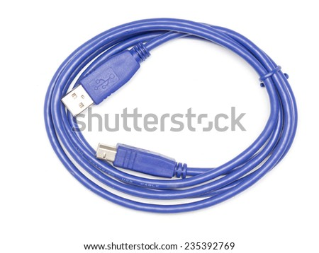 yusb blue cable on a white background - stock photo