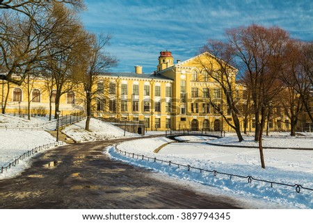 Yusupov garden and facade of Petersburg State Transport University's building in winter scene