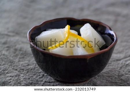 Yuzu Daikon; Pickled Japanese radish with Yuzu - stock photo