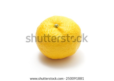 Yuzu on white background
