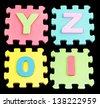 YZOI Alphabet learning blocks isolated Black - stock photo