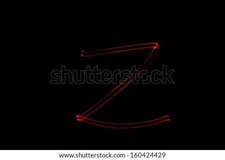 Z - torch light alphabet letters - stock photo