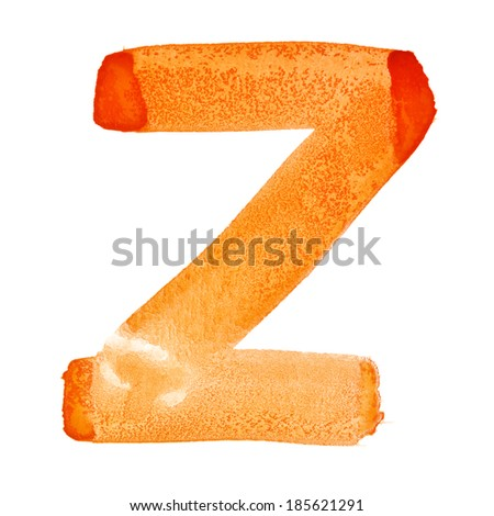 Z - Watercolor letters over white background