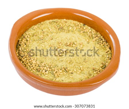 Za'atar - Middle Eastern condiment made from the dried herbs, mixed with sesame seeds, dried sumac and other spices.