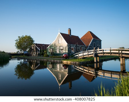 Zaanse schans, Holland - Traditional Dutch village - stock photo