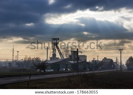ZABEN, CZECH REPUBLIC - FEBRUARY 25th, 2014: Old mining tower in electric power company logistic center.