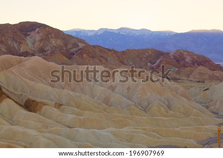 Zabriskie Point is a part of Amargosa Range located east of Death Valley in Death Valley National Park in California - stock photo