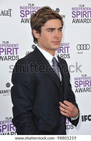 Zac Efron at the 2012 Film Independent Spirit Awards on the beach in Santa Monica, CA. February 25, 2012  Santa Monica, CA Picture: Paul Smith / Featureflash - stock photo
