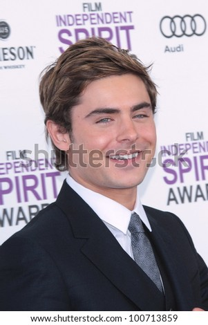 Zac Efron at the 2012 Film Independent Spirit Awards, Santa Monica, CA 02-25-12 - stock photo