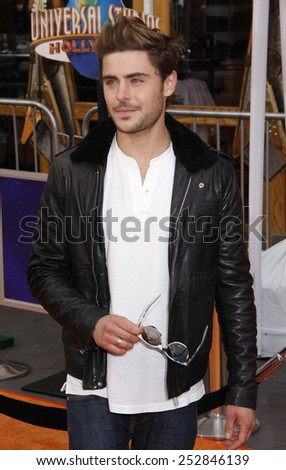 """Zac Efron at the Los Angeles Premiere of """"Dr. Suess' The Lorax"""" held at the Universal Studios Hollywood, California, United States on February 19, 2012.  - stock photo"""