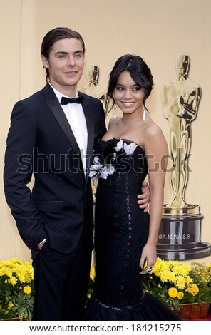 Zac Efron, Vanessa Hudgens, wearing Marchesa, at 81st Annual Academy Awards - ARRIVALS, Kodak Theatre, Los Angeles, CA 2/22/2009 - stock photo