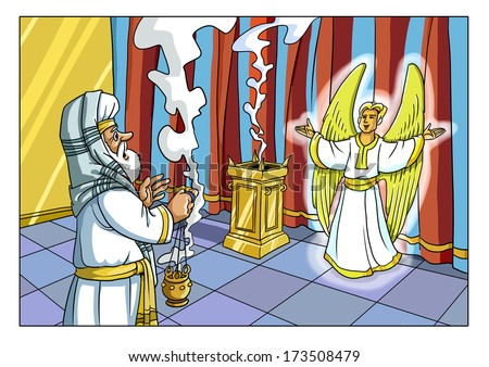 Zacharias and the Angel Gabriel (Christmas event) - stock photo
