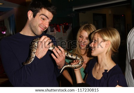 "Zachary Quinto with Ashley Benson and Kristen Bell  at ""Paw-Fect Match"" Valentine's Super Adoption Day. Paw Fect Match Red Quarters, Los Angeles, CA. 02-10-07"