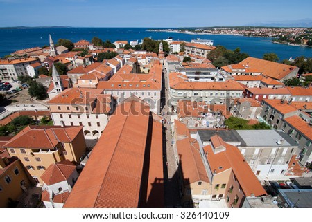 ZADAR, CROATIA - AUGUST 25: Aerial view of the Stari Grad (Old Town) of the Unesco heritage city of Zadar. On 25 August, 2010 in Zadar, Croatia - stock photo