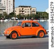 ZADAR, CROATIA - JUNE 22, 2011: VW Beetle car in Zadar, Croatia. More 21m of these VWs were manufactured from 1938 to 2003, making it one of most successful cars ever. - stock photo