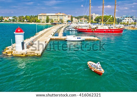 Zadar turquoise sea harbor view, Dalmatia, croatia - stock photo