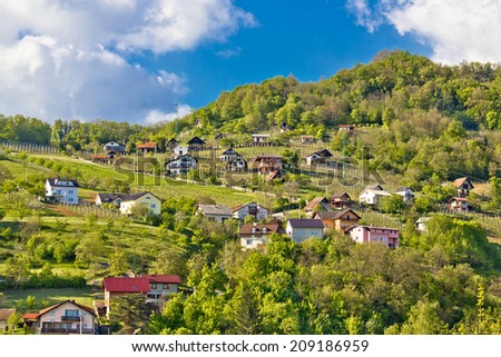 Zagorje hills vineyards and cottages, Krapina, Croatia - stock photo