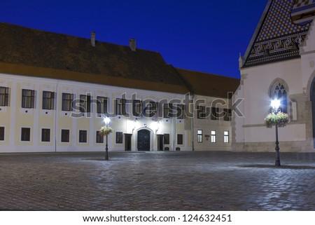 Zagreb City Council building at night. Croatia. - stock photo