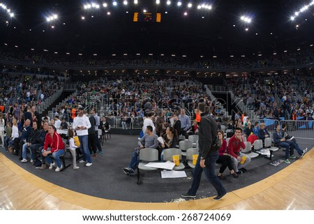 ZAGREB, CROATIA - APRIL 9, 2015: EHF Men's Champions League - Quarter final match between HC Zagreb PPD and HC Barcelona. Zagreb's supporters during the half time. - stock photo