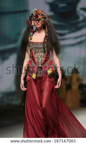 "ZAGREB, CROATIA - APRIL 11 : Fashion model wears clothes made by Matija Vuica on ""CRO A PORTER"" show on April 11, 2014 in Zagreb, Croatia."