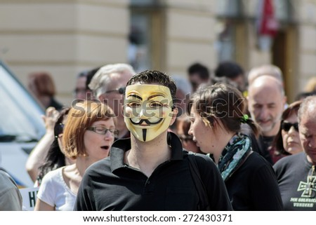 ZAGREB, CROATIA - APRIL 25, 2015: Man wearing Anonymous mask during a protest against rising interest on loans in Swiss francs in Croatia, Zagreb  - stock photo