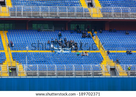 ZAGREB, CROATIA - APRIL 26, 2014: 1st Croatian Football League Championship - Lokomotiva VS Dinamo. Dinamo's supporters on north stand.  - stock photo