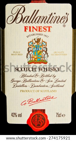 ZAGREB , CROATIA - April 30th , 2015 : Ballantine's fines Scotch Whiskey label on the bottle   ,product shot - stock photo