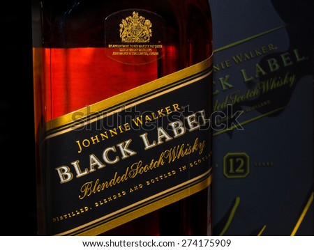 ZAGREB , CROATIA - April 30th , 2015 : Johnnie Walker black label  Scotch Whiskey label on the bottle   ,product shot - stock photo