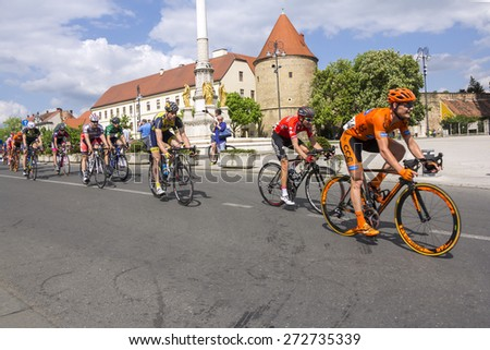 Zagreb, Croatia - April 26, 2015: The final stage of cycling race Tour of Croatia in downtown Zagreb. - stock photo