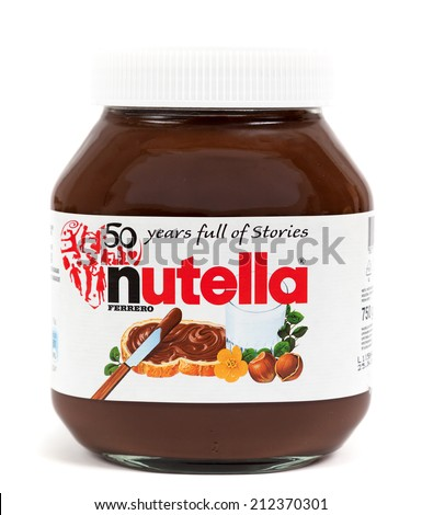 ZAGREB, CROATIA - AUG 22, 2014: Editorial photo of Nutella hazelnut spread jar on white background. Nutella, the nutty chocolate spread, is turning 50. CROATIA - August 22, 2014 - stock photo