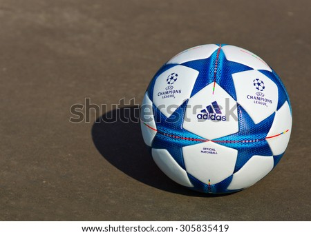 ZAGREB , CROATIA - 13 AUGUST 2015 - close up detail of European champions league official football from Adidas , product shot