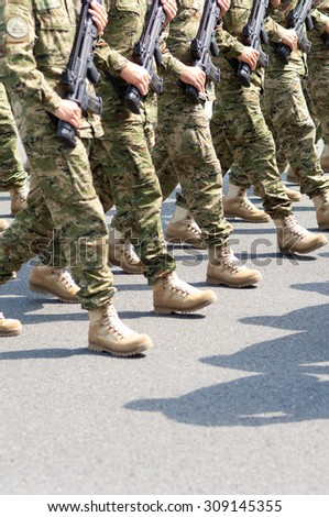 Zagreb, Croatia - August 1, 2015: Croatian soldiers during military parade rehearsal held in celebration of 20th anniversary of liberation of Croatia.