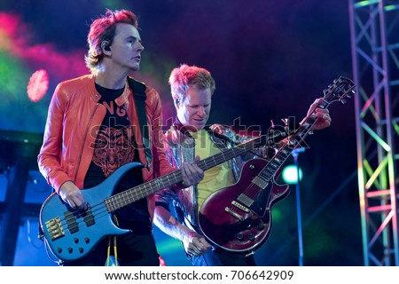 ZAGREB, CROATIA - AUGUST 29, 2017:Duran Duran Paper gods on tour 2017 at Salata Zagreb. John Taylor bass guitarist of the band Duran Duran on stage