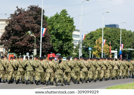 Zagreb, Croatia - August 1, 2015: Soldiers march in formation during military parade rehearsal held in celebration of 20th anniversary of liberation of Croatia.