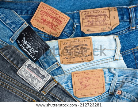 ZAGREB , CROATIA - AUGUST 24 , 2014 : Various Levis Jeans labels collection close up ,  product shot - stock photo