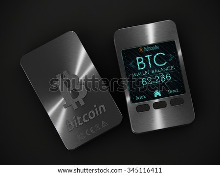 Zagreb, Croatia - CIRCA October , 2015: Close up shot of usb hardware wallet device showing status of Bitcoin, on grey background