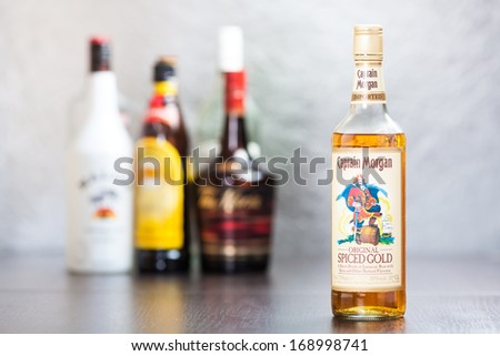 ZAGREB, CROATIA - DECEMBER 29, 2013: Bottle of Captain Morgan's Spiced Gold rum, produced by Diageo conglomerate in Jamaica. It's mellow aged and enhanced with fruit flavors, spices and vanilla. - stock photo