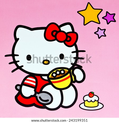ZAGREB , CROATIA - DECEMBER 27. 2012 :  Hello kitty children cartoon character printed on box ,product shot - stock photo