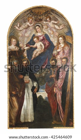 ZAGREB, CROATIA - DECEMBER 12, 2011: Jacopo Tintoretto: Madonna and Child, St. Catherine, Mary Magdalene, Peter, Dominic, Paul and Andrew exhibited at the Great Masters Renaissance in Croatia - stock photo