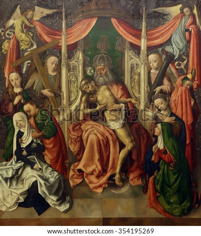 ZAGREB, CROATIA - DECEMBER 08: Master of the painting Virgo inter virgines: Throne of Mercy, Old Masters Collection, Croatian Academy of Sciences, December 08, 2014 in Zagreb, Croatia - stock photo