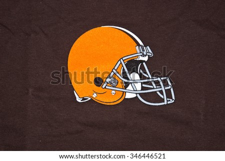 ZAGREB , CROATIA - DECEMBER 2nd, 2015 :  NFL Cleveland browns helmet logo printed on textile equipment , product shot