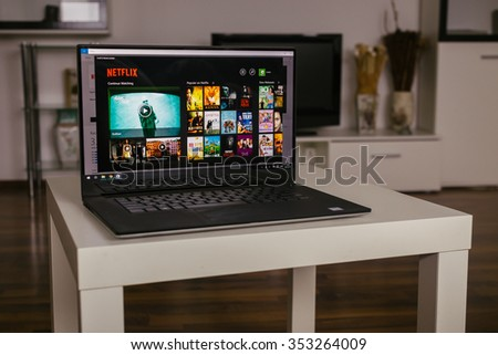 ZAGREB, CROATIA - 20 DECEMBER 2015. Netflix windows 10 app on the computer screen. Netflix is a provider on-demand streaming media - stock photo