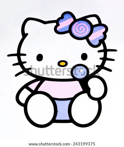 ZAGREB , CROATIA - DECEMBER 3rd , 2014 :  Hello kitty children cartoon character printed on card ,product shot - stock photo