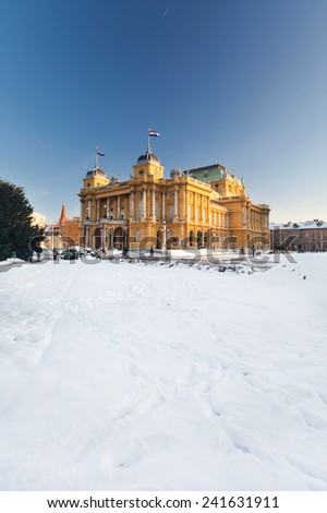 ZAGREB, CROATIA - DECEMBER 26, 2014: Snow in front of the Croatian National Theatre, oldest and the central national theatre institution.